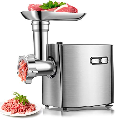 Electric Meat Grinder   cheffano ALTRA Meat Processor with Sausage Maker Kubbe Attachment   Stainless Steel Blade Cutting Discs   2000W Max   Meat Grinders For Home Use - Silver