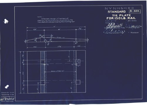 Standard Tie Plate For 130 LB Rail Blueprint (S-820) (Tie Hartford)
