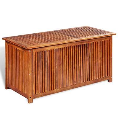 "Festnight Outdoor Patio Garden Deck Storage Box, Garden Bench Solid Acacia Wood 46.1"" x 19.7"" x 22.8"""