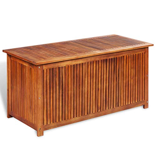 Festnight Outdoor Patio Garden Deck Storage Box, Garden Bench Solid Acacia Wood 46.1″ x 19.7″ x 22.8″
