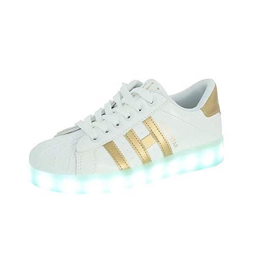 buy online 30118 967f8 Bruce Lin-UK Damen Jungen Mädchen LED Schuhe Blinkende Leuchtschuhe 7 Farbe  USB Aufladen LED Sportschuhe Farbwechsel Light up Low Top Sneaker ...