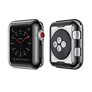 Smiling Apple Watch 3 Case Buit in TPU Screen Protector All-Around Protective Case High Definition Clear Ultra-Thin Cover for Apple Watch 42mm Series 3 and Series 2