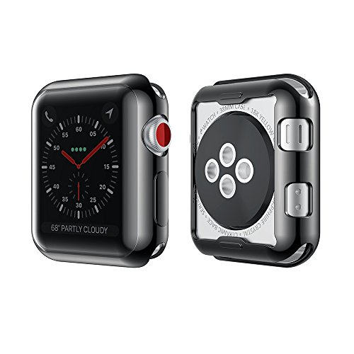 Smiling Apple Watch 3 Case Buit in TPU Screen Protector All-around Protective Case High Defination Clear Ultra-Thin Cover for Apple watch 42mm Series 3 and Series 2 (black, 42mm)