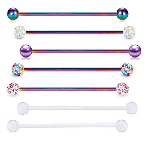 FECTAS 14G Industrial Barbells Earrings Stainless Steel Rainbow Cartilage Piercing Bars Barbell 7pcs 32mm