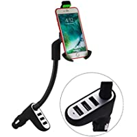 4.4 A,3 USB Plugs Luxury Aluminium Alloy Surface Phone Mount Holder Charger,Cigarette Lighter Car Mount Holder Fit for iPhone7, Plus 6s, Galaxy S8 Edge S7 S6 Note 5 4 3 LG, Nexus, HTC and More