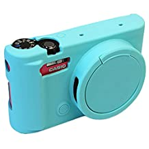 Removable Lens Cover Protective Silicone Gel Rubber Soft Camera Case Cover Bag For Casio ZR3500 Camera Blue