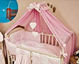 Baby Crown Canopy/Drape/Mosquito Net Large 485 cm + Universal Clamp Holder For Cot Bed - HEARTS PINK PLAIN