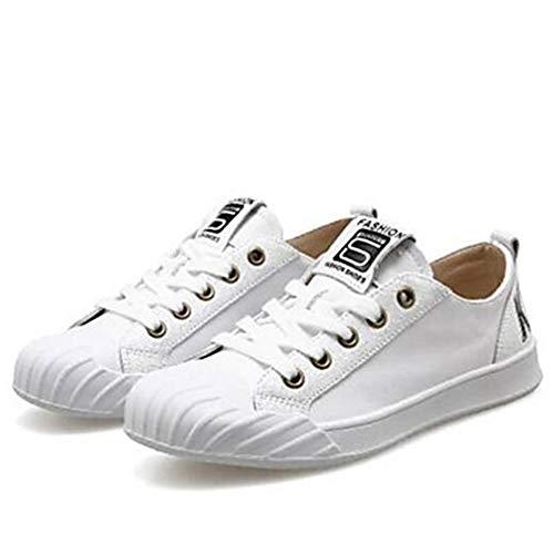 Talon UK6 Bout White TTSHOES Eté Printemps Confort Fermé US8 Blanc CN39 Noir Basket Chaussures Nappa EU39 Plat Cuir Femme CwxqC84