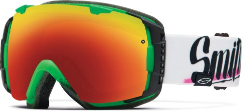 Smith I/O Asian Fit Snow Goggle - Neon Baron Von Fancy Frame with Red Sol-X and Blue Sensor Lenses