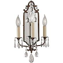 Murray Feiss WB1218BRB, Maison De Ville Mirrored Wall Sconce Lighting, 3 Light, 180 Watts, Bronze