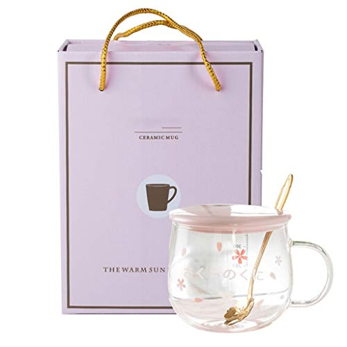 IOYGOOD Tumblers Sakura Glass, Creative Belt Mug, Cute Heat-Resistant Cup, Transparent Cup, Borosilicate Glass Coffee Cup,Gift (Color : Pink D+Box, Size : 400ML)