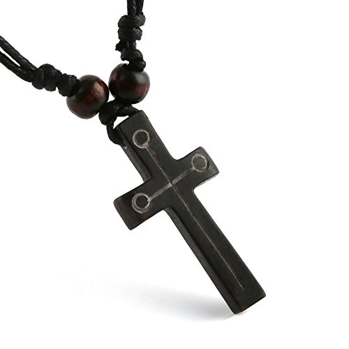 HZMAN Handmade Carved OX Bone Black Color Cross Pendant Necklace Hemp Rope -
