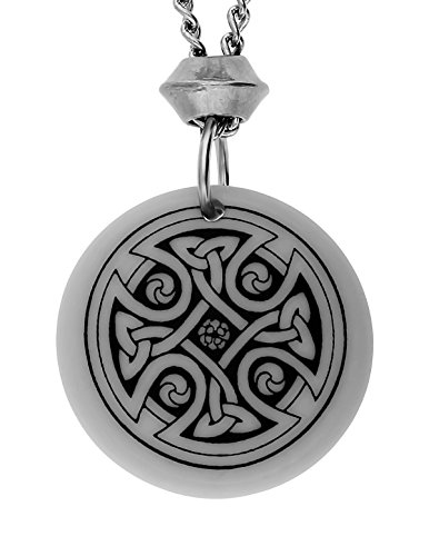 UNYKTOUCH Handmade Celtic Nevern Cross Round Porcelain Pendant (with 18+4 inch Extender Chain)