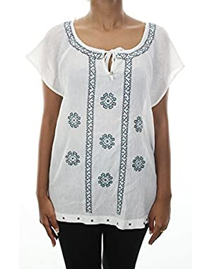 Women Embroidered Keyhole Top