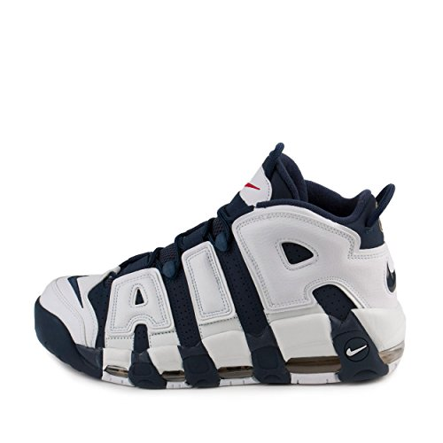 NIKE Mens Air More Uptempo USA White/Navy/Mtllc Gold Leather