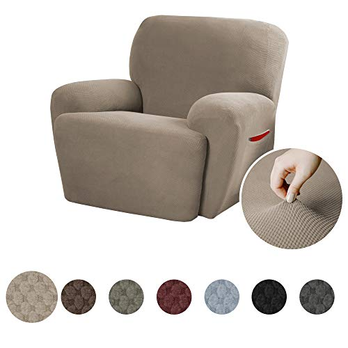MAYTEX Pixel Ultra Soft Stretch 4 Piece Recliner Arm Chair Furniture Cover Slipcover with Side Pocket, Sand