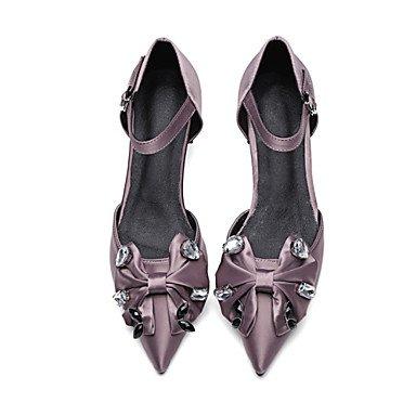 Talones de las mujeres Primavera Verano Otoño D'Orsay y de dos piezas de raso y de oficina Partido Carrera y vestido de noche Chunky HeelRhinestone rebordear hebilla Purple