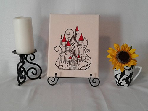 Castle Fairy Tale Embroidered Canvas Wall Art 8x10 inch - Parchment ()