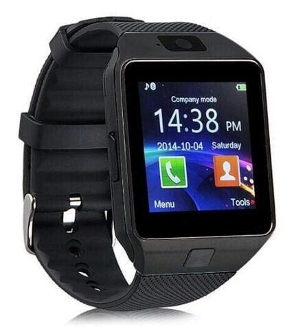 Smart Watch with Camera Bluetooth Wristwatch Sport Wearable Devices SIM TF Card Smartwatch for iOS Android Phones (Black)