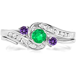 14k Gold Green Emerald And Amethyst And White Diamond Ladies Swirl Bridal Engagement Ring Set 1/2 CT
