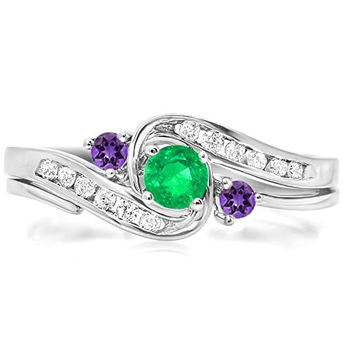 Dazzlingrock Collection 14k Green Emerald, Amethyst and White Diamond Bridal Engagement Ring Set 1/2 CT, White Gold, Size 5.5