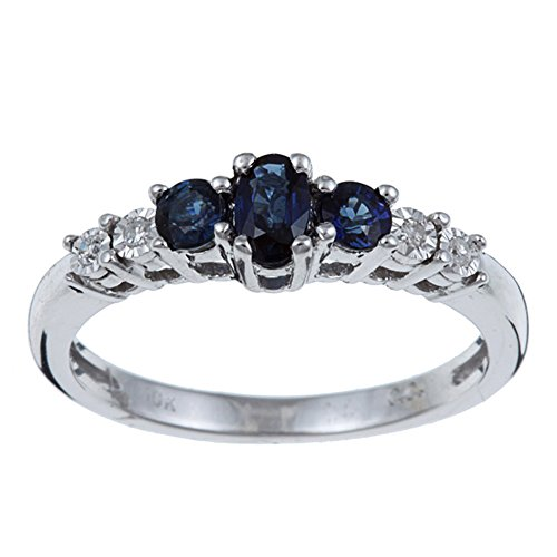 10k Rhodium-Plated White Gold Three Stone Blue Sapphire and Diamond Ring