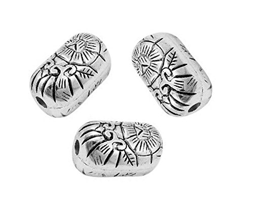 (PlanetZia Oval Designed Pillow Metalized Beads 12pcs 24x15mm For Jewelry Making)