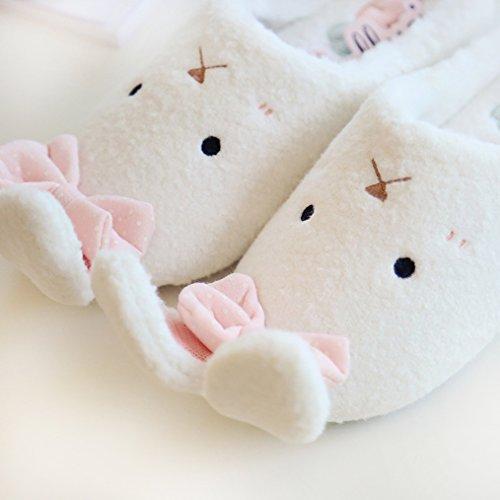 Blubi Mujeres Plush Closed Toe Bunny Zapatillas Sweet Cute Slippers Zapatillas De Dormitorio Blanco