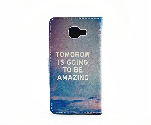 Galaxy A52016Funda, Galaxy A52016Funda de piel tipo cartera, ikasus hermoso patrón pintura de piel sintética plegar funda Premium–Funda de piel tipo libro con función atril soportes de ID de tar Tomorrow is going to be amazing