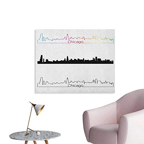 Chicago Skyline Wallpaper Metropolis City Panorama in Linear Rainbow Black Tones Architecture Modern The Office Poster Multicolor W28 xL20
