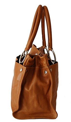 ital echt Leder Luxus Handtasche Damentasche Shopper Tasche Ledertasche cognac L