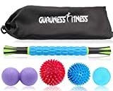 Cheap Massage Ball Set & Muscle Roller Massager for Deep Tissue Trigger, Pain Relief, Plantar Fasciitis Foot Recovery – 1 Roller Stick, 1 Peanut Ball, 2 Spiky Balls & 1 Lacrosse Ball – Include Carry Bag