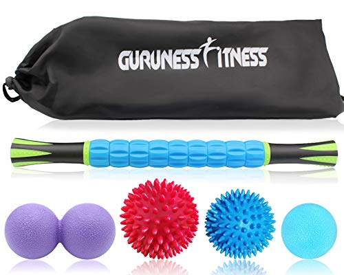Massage Ball Set & Muscle Roller Massager for Deep Tissue Trigger, Pain Relief, Plantar Fasciitis Foot Recovery - 1 Roller Stick, 1 Peanut Ball, 2 Spiky Balls & 1 Lacrosse Ball - Include Carry Bag