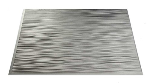 "Fasade Easy Installation Ripple Argent Silver Backsplash Panel for Kitchen and Bathrooms (18"" x 24"" Panel)"