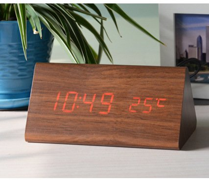 Price comparison product image Damjic Simple Led Sound Control Wood Alarm Clock Electronic Bedside Alarm Clock Mute Wood Alarm Clock 1508070Mm M