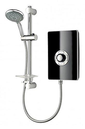 Triton Electric Showers - Triton Aspirante Black Gloss Effect 9.5Kw Electric Shower With 5 Spray Rub Clean Showerhead ASP09GSBLK by iBathUK