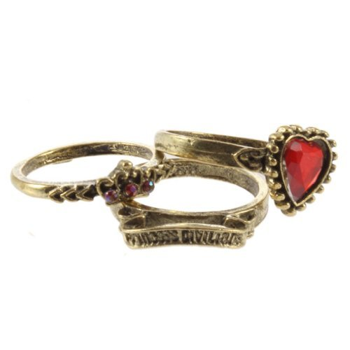 Gleader New 3pcs Retro Vintage Red Rhinestone Love Heart Crown Ring Queen of England Love Rings For Women Lady Girl -