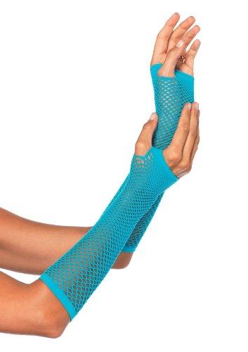 Leg Avenue Women's Triangle Net Fingerless Gloves, Neon Blue, One Size (Womens 80s)