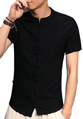 RRINSINS Mens Summer Plain Kungfu Solid Short Sleeve Frog Button Shirt Black (Gentleman Frog)