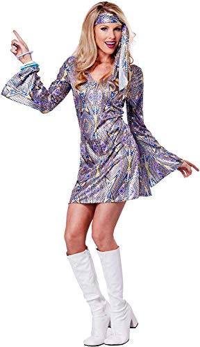 Shimmery 70'S Disco Dance Babe Groovy Halloween Costume Outfit Adult Women]()