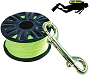 DiveSmart Finger Spool Reel with Double Ended Brass Hook and High Visibility Neon Yellow Line (75ft', 100f