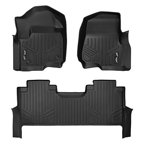 MAX LINER A0246/B0298 Custom Floor Mats 2 Liner Set Black for 2017-2019 Ford F-250/F-350 Super Duty Crew Cab with 1st Row Bench Seat