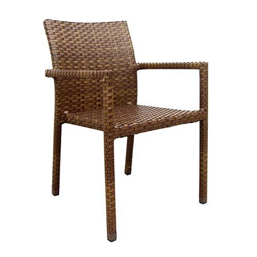 Panama Jack St Barths Stackable Arm Chair, Viro Fiber Brown Pine Finish