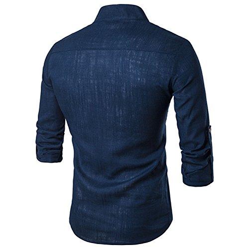 Casual Col Pour Noir 2017 Homme Couleur À Chemise manches Chemise Lin Bleu Nouveaux longues Boutons Montant Unie Sunshey Causal Avec B17 Moderne Et De dHxYvwqBYy