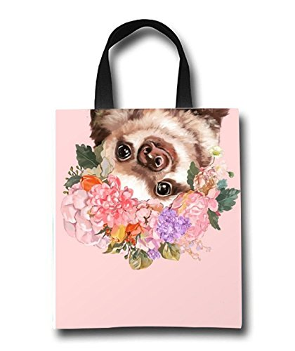 Baby Sloth With Flowers Beach Tote Bag - Toy Tote Bag - Large Lightweight Market, Grocery & Picnic by Linhong