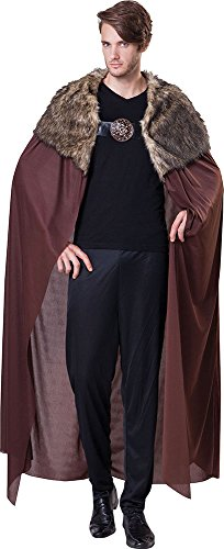 Men's Game Of Thrones Fancy Dress Party Cape Deluxe With Plush Collar Outfit (Game Of Thrones Mens Costumes)