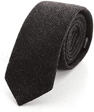 YYQ Formal Business Wool Striped Tie Herringbone 7cm England Neckwear Black Work Professional Neckcloth Boys Necktie