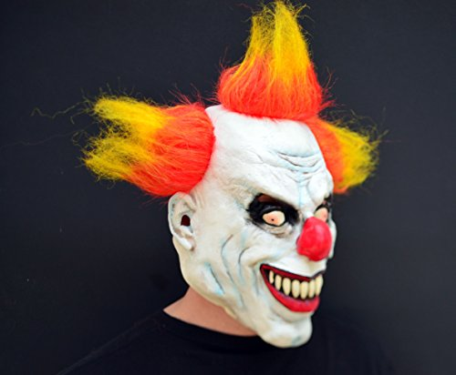 X-Merry Scary Creepy Halloween Clown Evil Latex Mask - Orange Yellow Hair (Evil Clown Makeup)