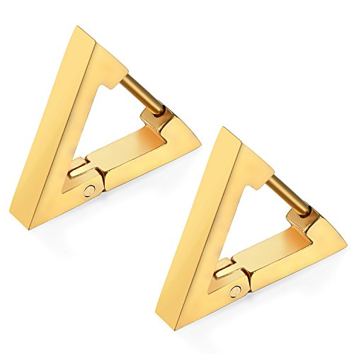 (Flongo Men's Women Punk Gold Stainless Steel Triangle Shape Design Hoop Earrings)