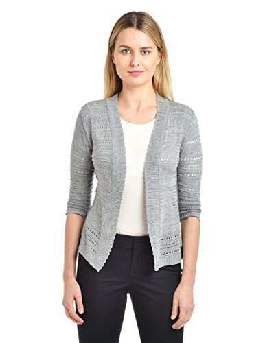 Knit Minded Women's Junior Pointelle ¾ Sleeve Novelty Cardigan, Grey, ()
